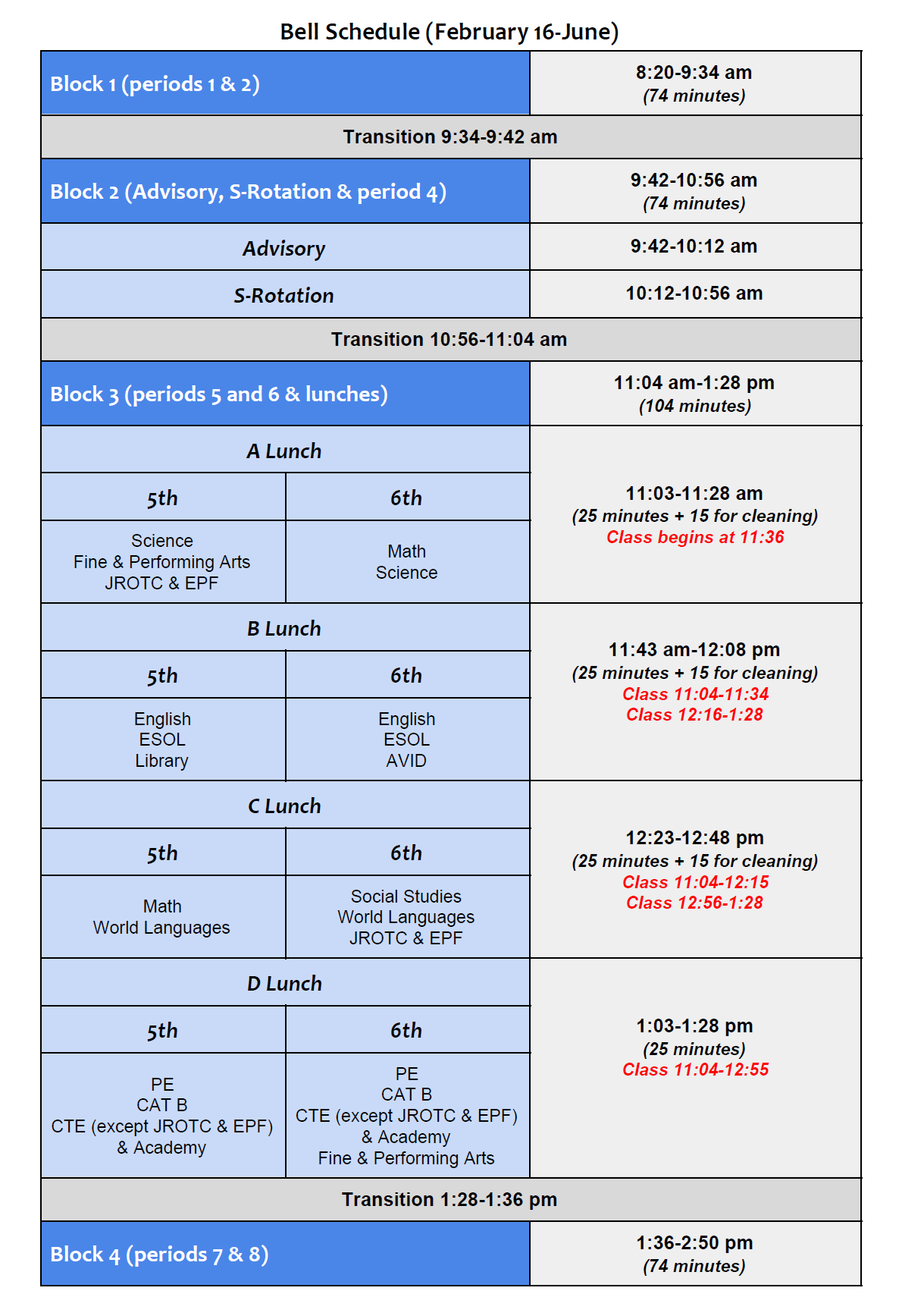 Bell Schedule from February 16 to  June